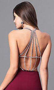 Image of floor length scoop neck detailed back side slit chiffon dress Style: MT-7365 Detail Image 1