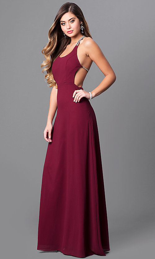 Image of floor length scoop neck detailed back side slit chiffon dress Style: MT-7365 Front Image