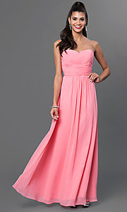 Image of long strapless chiffon prom dress with corset. Style: FB-GL2070 Detail Image 2