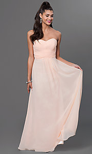 Image of long strapless chiffon prom dress with corset. Style: FB-GL2070 Detail Image 1