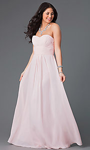 Image of long strapless chiffon prom dress with corset. Style: FB-GL2070 Front Image
