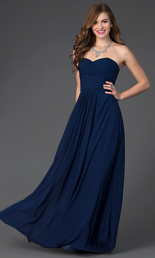 Image Of Long Strapless Chiffon Prom Dress With Corset Style Fb Gl2070 Front