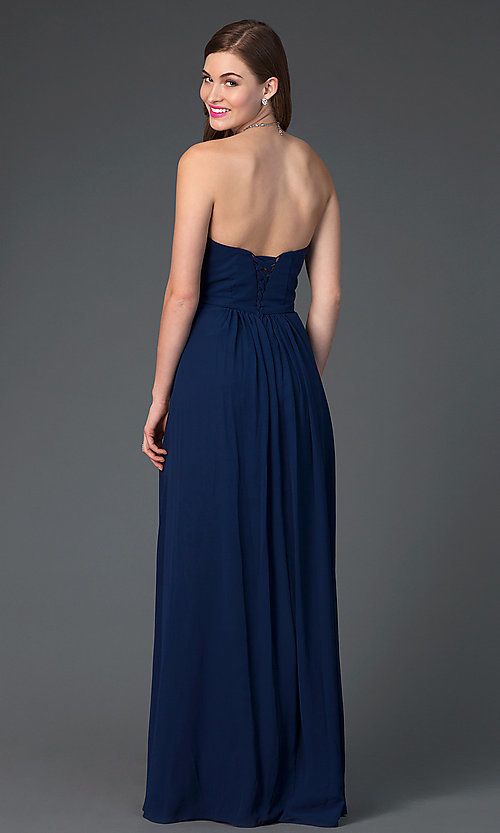 Strapless Long Chiffon Prom Dress - PromGirl