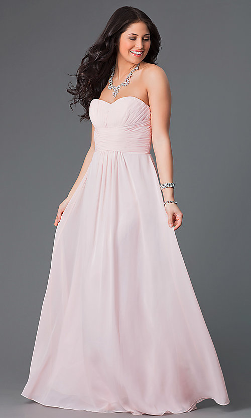 Image of long strapless chiffon prom dress with corset. Style: FB-GL2070 Detail Image 3