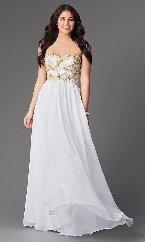 Long Strapless Chiffon Prom Dress - PromGirl