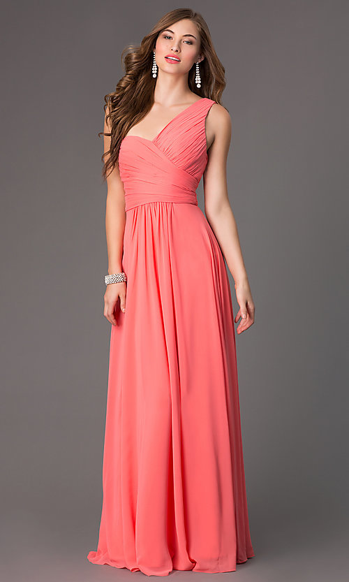 Image of long one-shoulder Elizabeth K prom dress. Style: FB-GL2028 Front Image