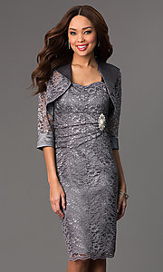 Knee Length Lace Dress with Matching Bolero by Sally Fashion