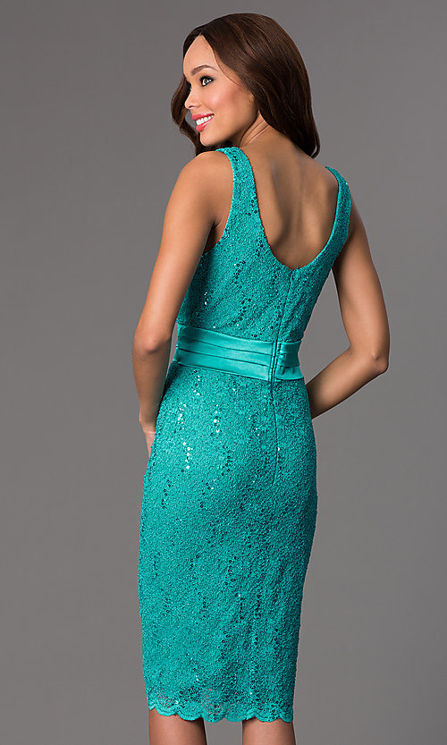 Image of knee-length lace dress with matching bolero. Style: SF-8759 Back Image