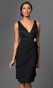 Image of knee-length sleeveless dress with jacket Style: SF-8723 Detail Image 3