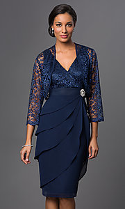 Image of knee-length sleeveless dress with jacket Style: SF-8723 Detail Image 1