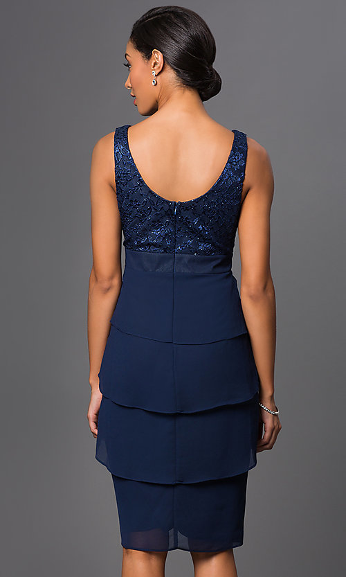 Image of knee-length sleeveless dress with jacket Style: SF-8723 Back Image