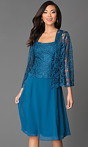 Image of knee-length sleeveless lace-top chiffon skirt dress with long-sleeve lace bolero jacket  Style: SF-8485 Detail Image 2