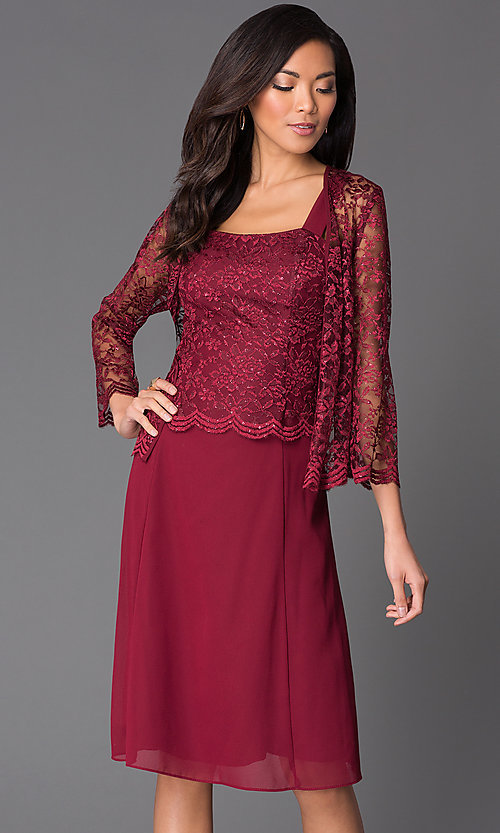 Image of knee-length sleeveless lace-top chiffon skirt dress with long-sleeve lace bolero jacket  Style: SF-8485 Detail Image 3