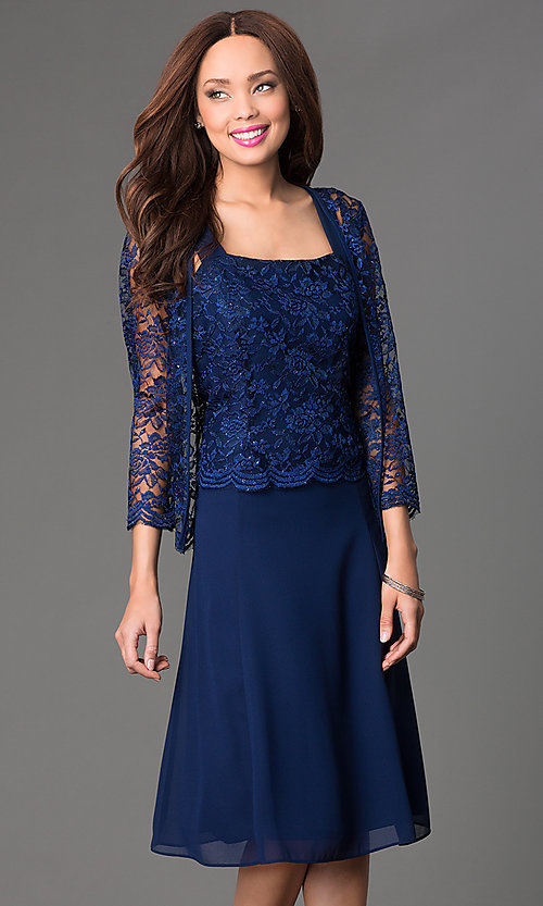 Image of knee-length sleeveless lace-top chiffon skirt dress with long-sleeve lace bolero jacket  Style: SF-8485 Front Image