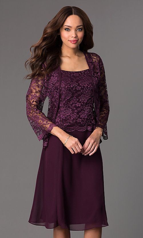 Image of knee-length sleeveless lace-top chiffon skirt dress with long-sleeve lace bolero jacket  Style: SF-8485 Detail Image 1