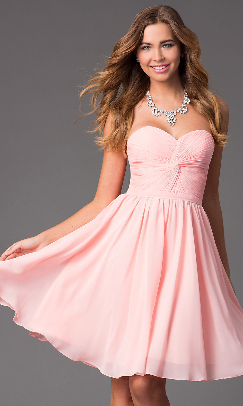 Short Strapless Sweetheart Prom Dress - PromGirl