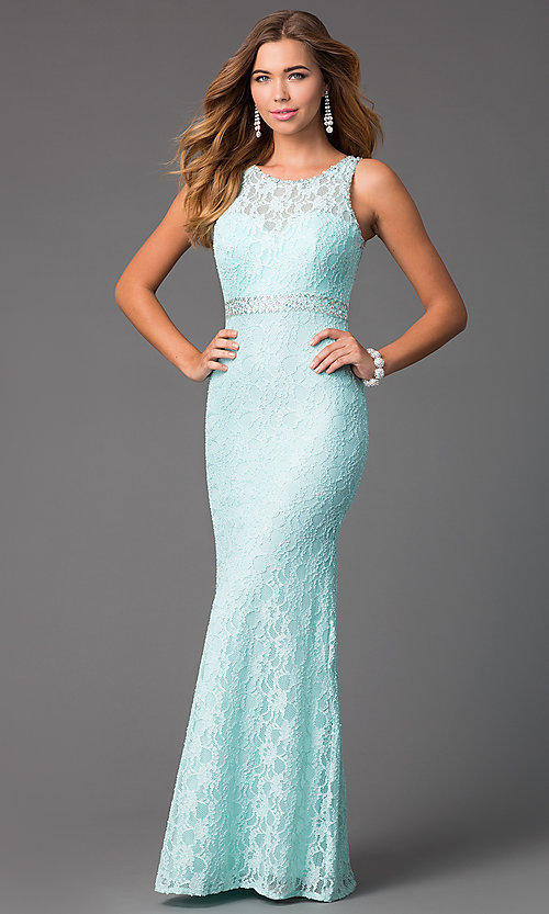 Image of long sleeveless lace mermaid dress Style: DQ-8943A Front Image