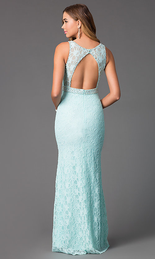 Image of long sleeveless lace mermaid dress Style: DQ-8943A Back Image