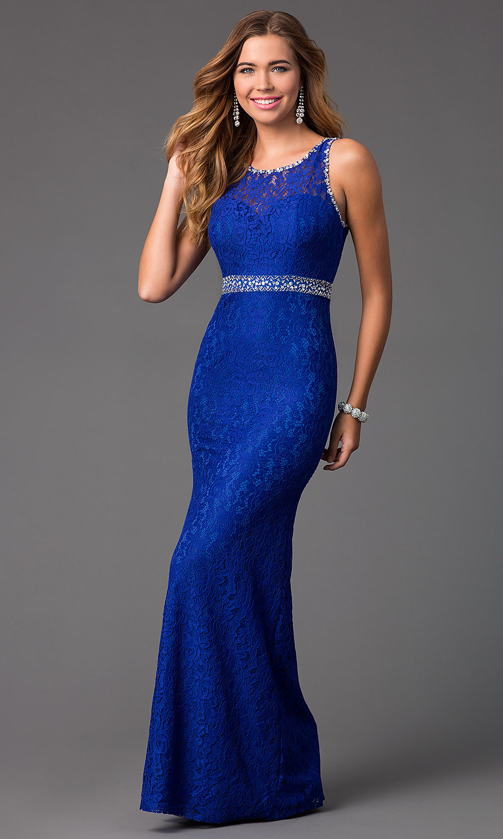 Long Lace Royal Blue P...