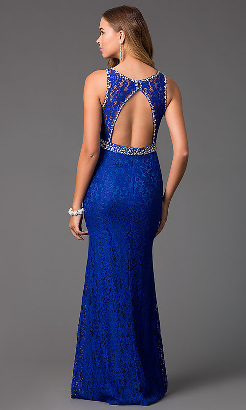 Image of royal blue floor-length lace prom dress. Style: DQ-8943B Back Image