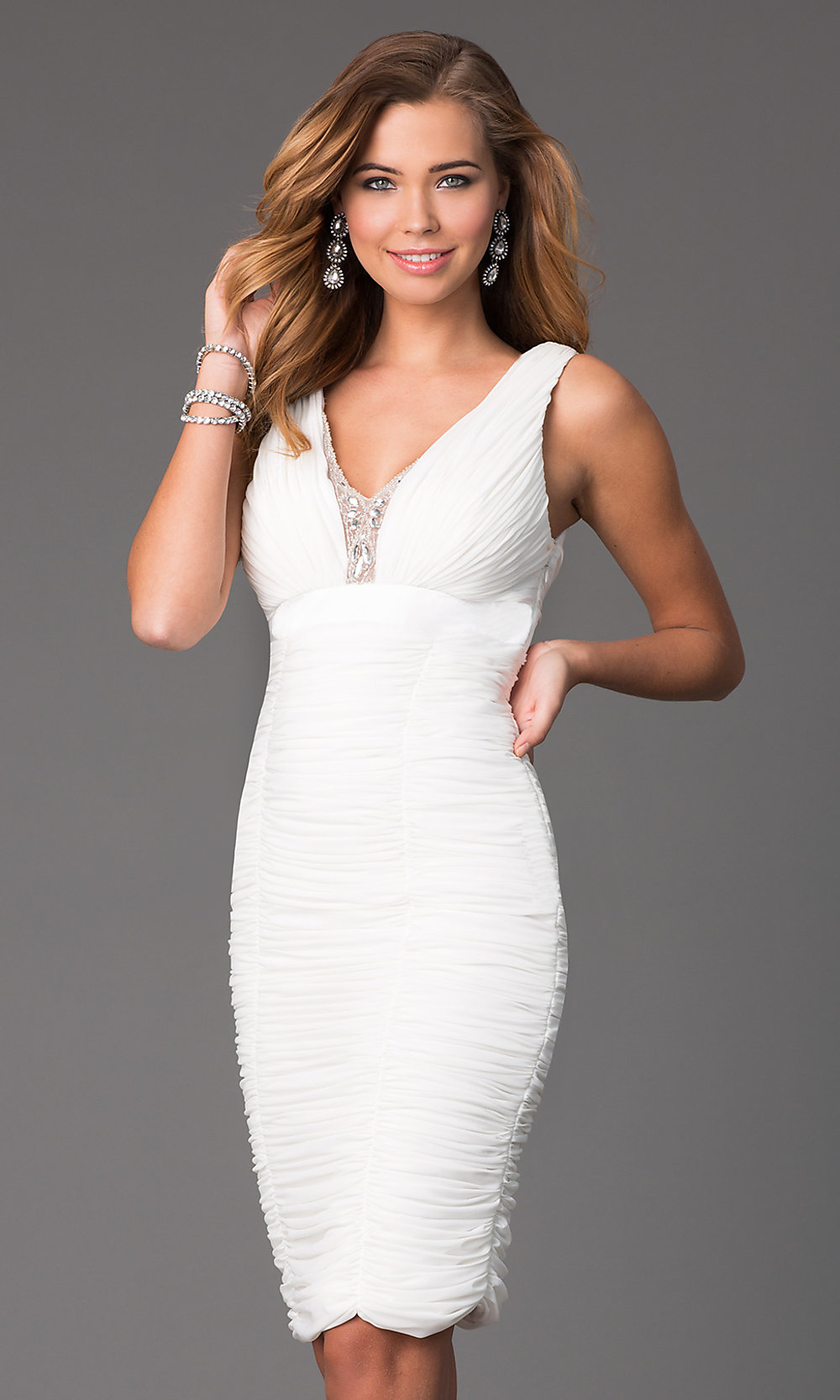 knee length white formal dresses