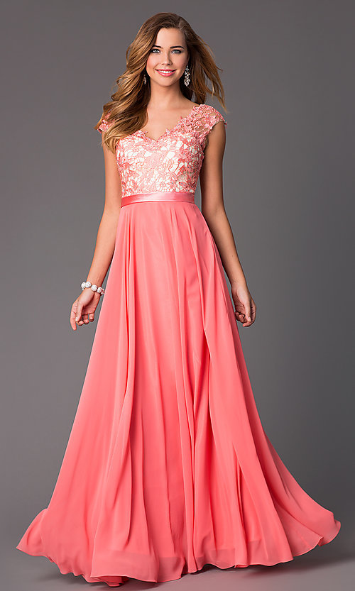 Cap-Sleeve V-Neck Floor-Length Dress - PromGirl