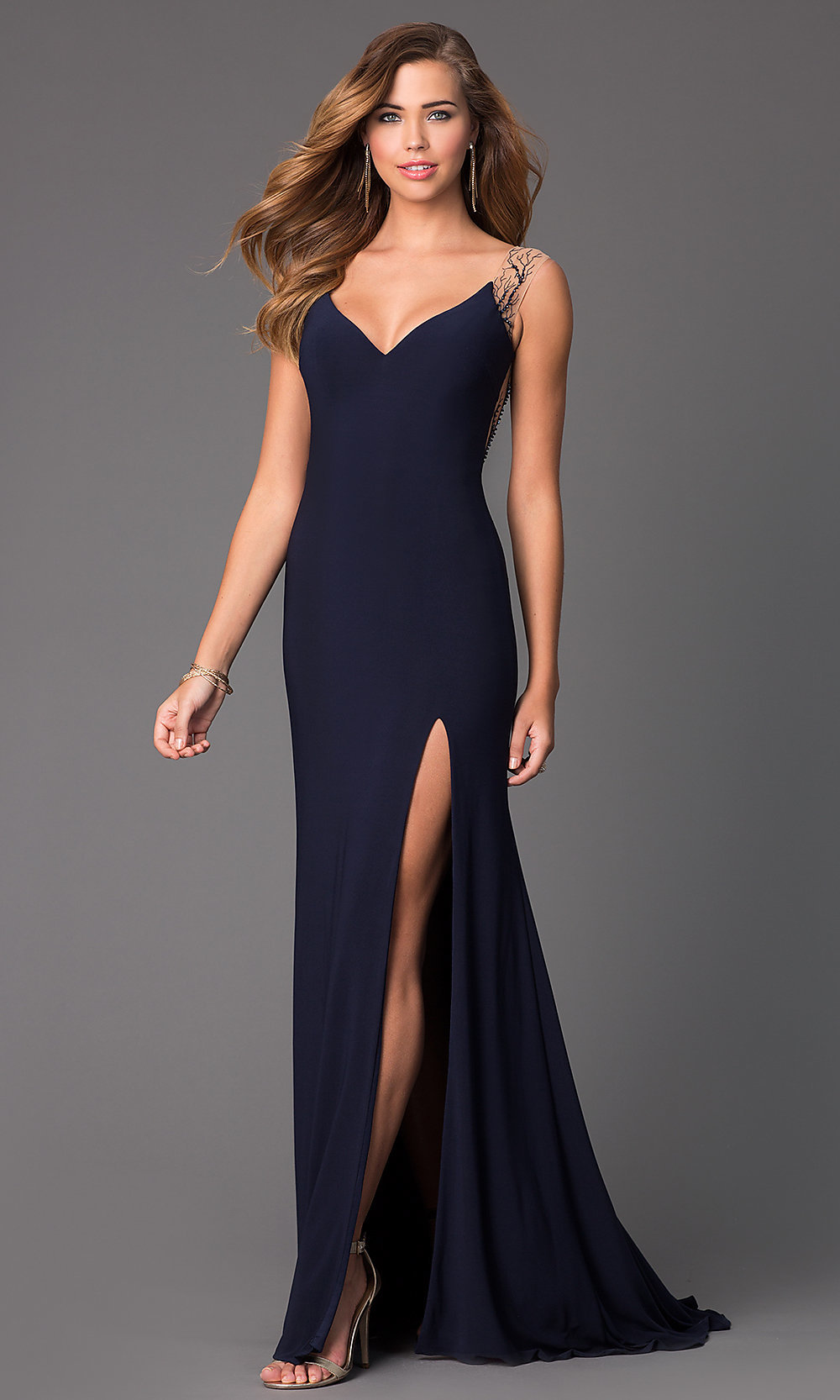 V-Neck Long Blue Sheer Back Dress - PromGirl