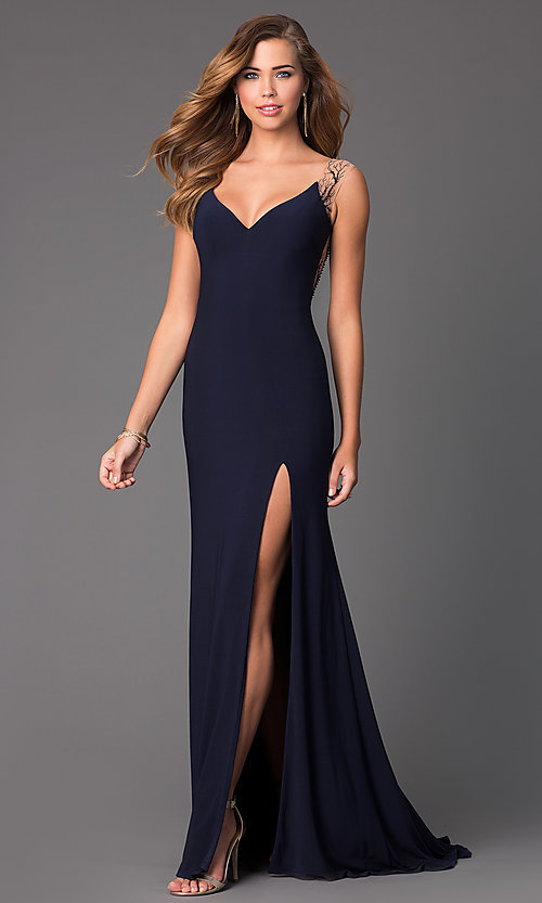 Image of long sleeveless navy blue V-neck sheer back formal dress Style: CD-GL-G303 Back Image