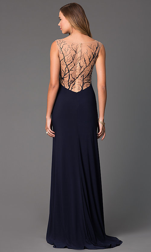Image of long sleeveless navy blue V-neck sheer back formal dress Style: CD-GL-G303 Front Image
