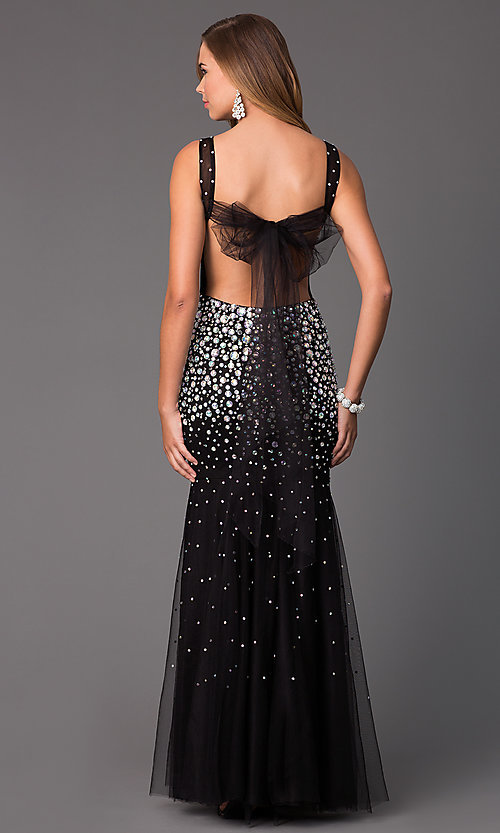 Image of black sleeveless jewel embellished sheer illusion evening dress Style: CD-GL-G246 Back Image
