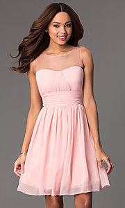 Short Illusion High-Neck Homecoming Dress