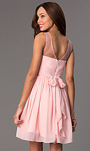 Image of short illusion high-neck homecoming dress. Style: PO-7006 Back Image