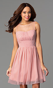 Image of short illusion high-neck homecoming dress. Style: PO-7006 Front Image