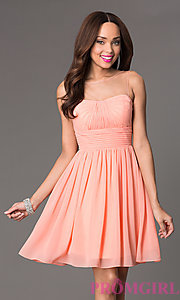 Image of short illusion high-neck homecoming dress. Style: PO-7006 Detail Image 1