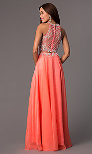 Image of sleeveless long two-piece high-neck jewel-embellished bodice dress Style: PO-7012 Back Image