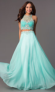 Image of sleeveless long two-piece high-neck jewel-embellished bodice dress Style: PO-7012 Detail Image 3