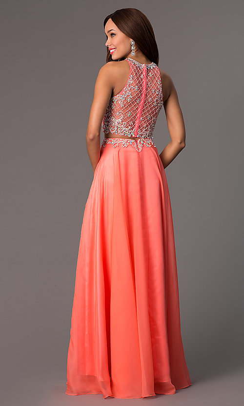Sleeveless Two Piece Long Beaded Dress Promgirl