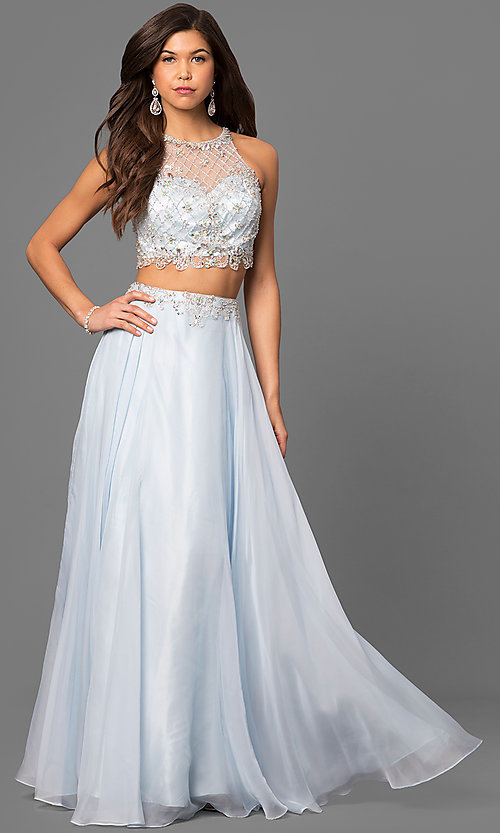 Image of sleeveless long two-piece high-neck jewel-embellished bodice dress Style: PO-7012 Front Image