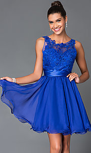 Short Sleeveless Dress 7064 with Lace Bodice