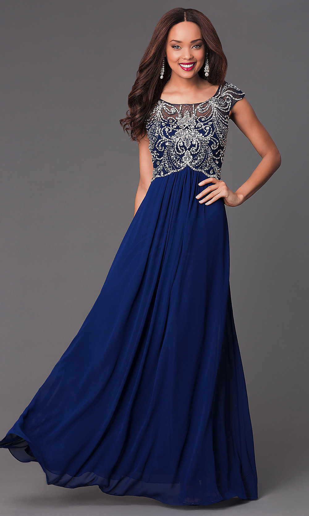 Floor Length Cap Sleeve Beaded Dress Promgirl