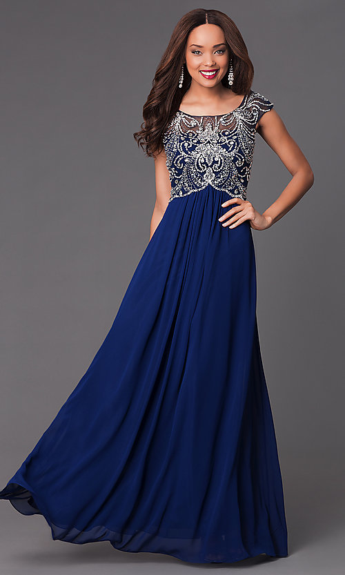 Image of long cap-sleeve jewel-embellished bodice dress Style: PO-7122 Front Image