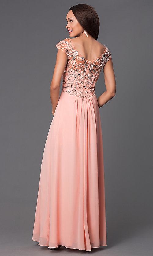 Image of long cap-sleeve jewel-embellished bodice dress Style: PO-7122 Back Image