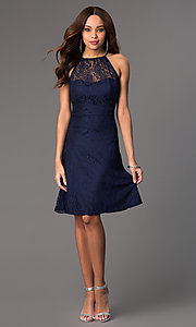 Image of lace sleeveless knee length dress Style: SI-11464 Detail Image 1