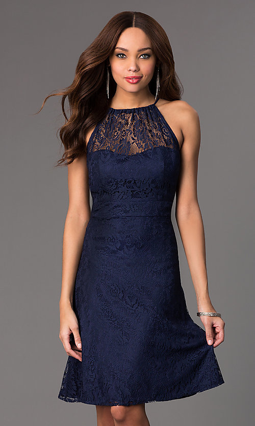Image of lace sleeveless knee length dress Style: SI-11464 Front Image