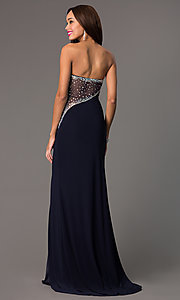 Image of strapless navy sweetheart jewel embellished sheer back side slit dress Style: MF-E1778 Back Image