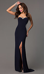 Image of strapless navy sweetheart jewel embellished sheer back side slit dress Style: MF-E1778 Front Image