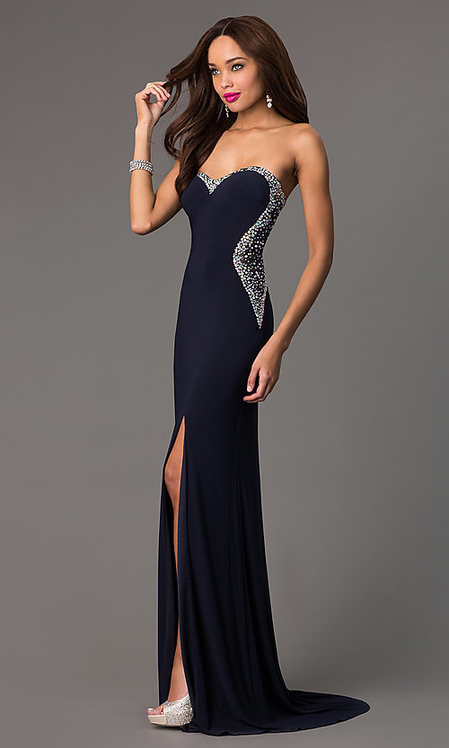 Image of strapless navy sweetheart jewel embellished sheer back side slit dress Style: MF-E1778 Detail Image 1