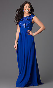 Image of floor length sleeveless sequin lace bodice dress. Style: TW-1156 Detail Image 1