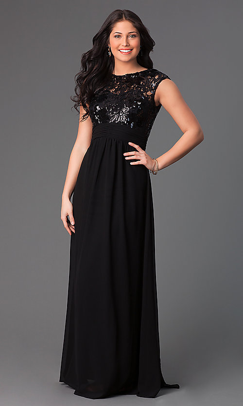 Image of floor length sleeveless sequin lace bodice dress. Style: TW-1156 Front Image