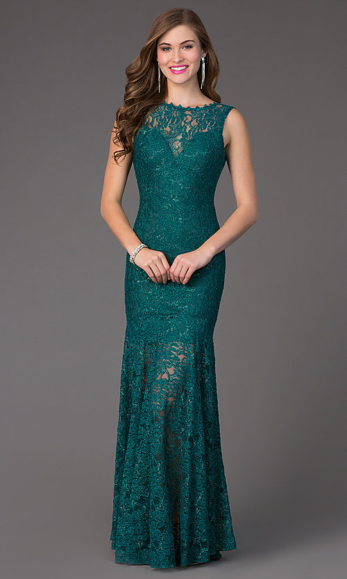 Image of floor-length sleeveless glitter-lace illusion high-neck dress. Style: TW-4155 Detail Image 1